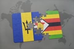 förbrylla med nationsflaggan av Barbados och Zimbabwe på en världskarta Royaltyfri Bild