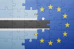 förbrylla med nationsflaggan av Botswana och europeisk union Royaltyfria Bilder