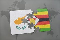 förbrylla med nationsflaggan av Cypern och Zimbabwe på en världskarta Royaltyfria Foton