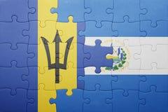 Förbrylla med nationsflaggan av El Salvador och Barbados Arkivbild