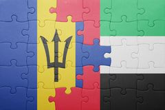 förbrylla med nationsflaggan av Förenade Arabemiraten och Barbados Royaltyfri Bild