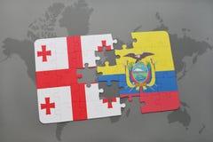 förbrylla med nationsflaggan av georgia och Ecuador på en världskarta Arkivbilder
