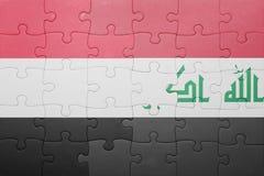 Förbrylla med nationsflaggan av Irak och Jemen Royaltyfria Foton