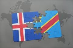 förbrylla med nationsflaggan av Island och Demokratiska republiken Kongo på en världskarta Royaltyfri Bild