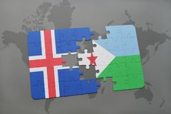 förbrylla med nationsflaggan av Island och djibouti på en världskarta Royaltyfria Foton
