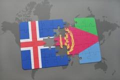 förbrylla med nationsflaggan av Island och eritrea på en världskarta Royaltyfri Foto