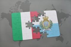 förbrylla med nationsflaggan av Italien och San Marino på en världskartabakgrund Fotografering för Bildbyråer