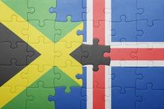 förbrylla med nationsflaggan av Jamaica och Island Royaltyfri Fotografi