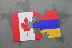 förbrylla med nationsflaggan av Kanada och Armenien på en världskartabakgrund Royaltyfria Bilder