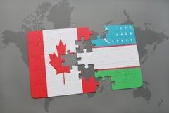 förbrylla med nationsflaggan av Kanada och uzbekistan på en världskartabakgrund Royaltyfri Foto