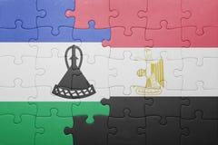 förbrylla med nationsflaggan av Lesotho och Egypten Fotografering för Bildbyråer