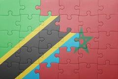 förbrylla med nationsflaggan av Marocko och Tanzania Royaltyfria Bilder