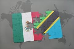 förbrylla med nationsflaggan av Mexiko och Tanzania på en världskartabakgrund Fotografering för Bildbyråer