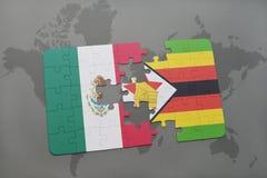 förbrylla med nationsflaggan av Mexiko och Zimbabwe på en världskartabakgrund Royaltyfri Bild