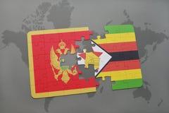 förbrylla med nationsflaggan av Montenegro och Zimbabwe på en världskarta Arkivfoto