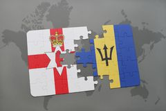 förbrylla med nationsflaggan av nordligt - Irland och Barbados på en världskarta Royaltyfri Bild
