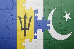 förbrylla med nationsflaggan av Pakistan och Barbados Royaltyfria Bilder