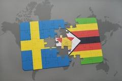 förbrylla med nationsflaggan av Sverige och Zimbabwe på en världskartabakgrund Royaltyfri Bild
