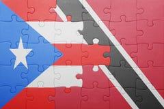 Förbrylla med nationsflaggan av Trinidad och Tobago och Puerto Rico Arkivfoto
