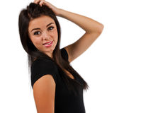Förbryllad flicka som isoleras på white Arkivfoton