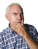 förbryllad pensionär för latino man Royaltyfria Bilder