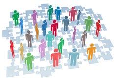 förbryllar stycken för mänskligt nätverk för anslutning resurser stock illustrationer