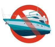 Förbud av det motoriska fartyget Det strikta förbudet på konstruktion av det motoriska fartyget, förbjuder Stoppa snabba motorbåt stock illustrationer