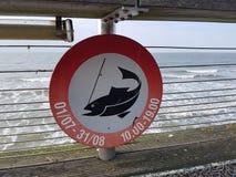 Förbud som fiskar tecknet Fotografering för Bildbyråer