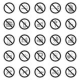 25 förbud- & varningstecken - Iconset stock illustrationer