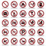 25 förbud- & varningstecken - Iconset vektor illustrationer
