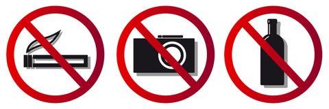 Förbuds- tecken som är inget - röka, ingen kamera royaltyfri illustrationer