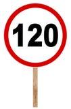 Förbuds- trafiktecken - hastighetsbegränsning 120 Royaltyfria Bilder