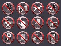 12 förbudtecken Royaltyfri Bild
