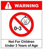 Förbudtecken för barn Inte för barn under 3 år tecken också vektor för coreldrawillustration Royaltyfri Bild