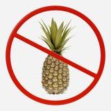 Förbudtecken med ananas Arkivfoto