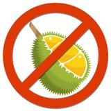 Förbudtecken med durianen för matbegrepp Arkivfoto