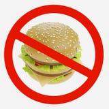 Förbudtecken med hamburgaren Royaltyfria Bilder