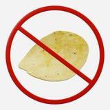 Förbudtecken med potatischipen Royaltyfria Foton