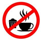 Förbudteckensymbol Inget äta och inget tillåtet för drinkar som isoleras på vit bakgrund fotografering för bildbyråer