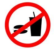 Förbudteckensymbol Inget äta och inget tillåtet för drinkar som isoleras på vit bakgrund royaltyfria foton