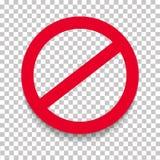 Förbudvägmärke med skugga Gräns begränsningsvektortecken Arkivfoto