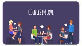 Förbunde förälskat Folk i romantiskt datum vektor vektor illustrationer
