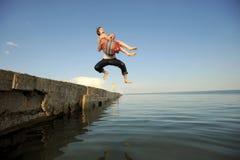 förbunden banhoppningpir Royaltyfri Fotografi
