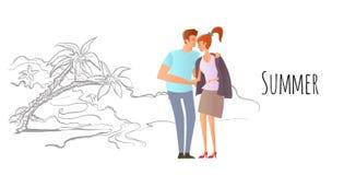 förbunden förälskelsebarn Man och kvinna på ett romantiskt datum på en tropisk strand med palmträd Dendrog vektorn skissar royaltyfri illustrationer