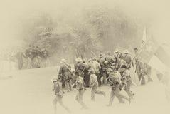 Förbundsmedleminfanteri förstärker deras linje Fotografering för Bildbyråer