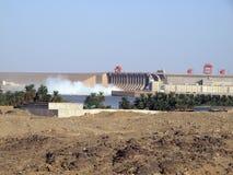 Fördämning av den Merowe vattenkraftstationen Royaltyfri Bild
