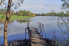 Fördämning på en blå sjö i skogen royaltyfri fotografi