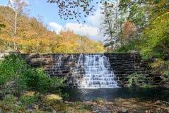 Fördämning på utter sjön, blåa Ridge Parkway, Virginia royaltyfri bild