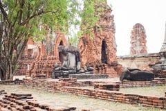 Fördärva den buddha statyn i forntida stad med vit himmel Arkivfoton