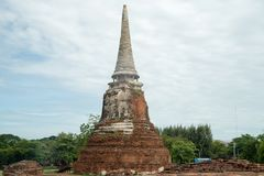 Fördärva i tempelkomplexet vilken Maha That i Ayutthaya Arkivbild